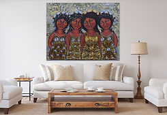 Mexican women painting by visual artist Jazmin Sasky