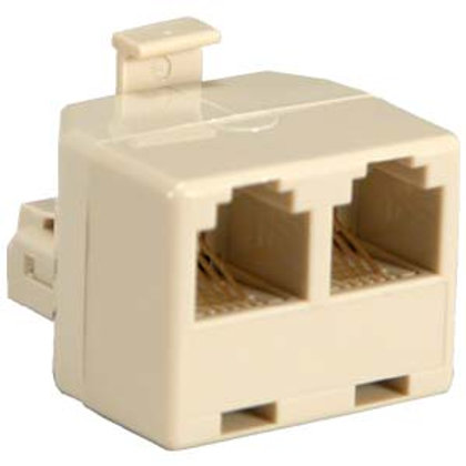 170501 RJ11(6P4C) 1M/2F Modular T Adapter, Ivory
