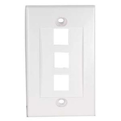 101803WT 3Port Keystone Wallplate White Decora Typ