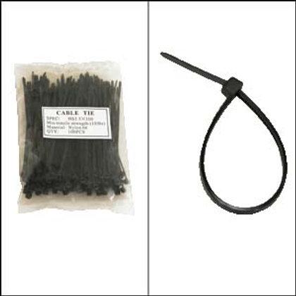 "220101BK 4"" Nylon Cable Tie 18lbs Black 100pk"
