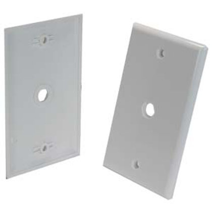 203510WT Blank Wall Plate for F Coupler White