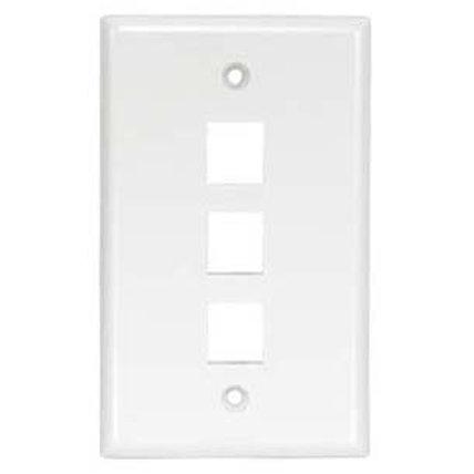 101833WT 3Port Keystone Wallplate White Smooth Fac