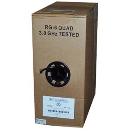 202804 1000Ft RG6 Quad Shield Coax Cable Black CM