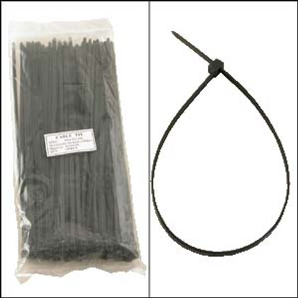 "220104BK 12"" Nylon Cable Tie 50lbs Black 100pk"