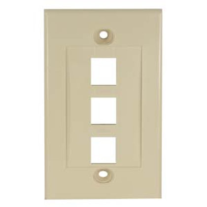 101803IV 3Port Keystone Wallplate Ivory Decora Typ