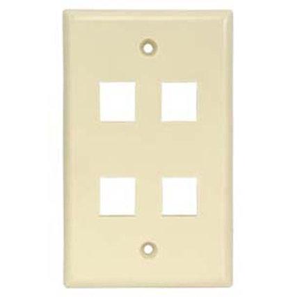 101834IV 4Port Keystone Wallplate Ivory Smooth Fac