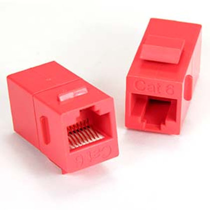 102010RD Cat.6 Inline Coupler w/Keystone Latch Red