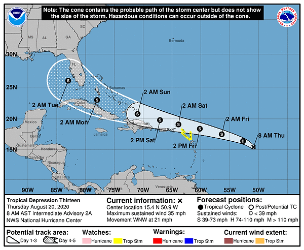 Tropical Depression 13 Cone, Thursday 8/20 AM