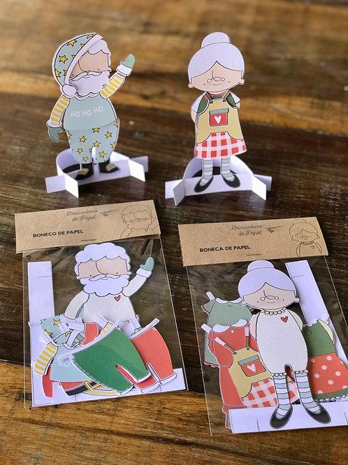100- Bonecas(os) de Papel -Mamãe e Papai Noel