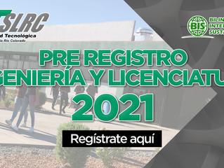PRE REGISTRO PARA ASPIRANTES A INGENIERÍA Y LICENCIATURA 2021.
