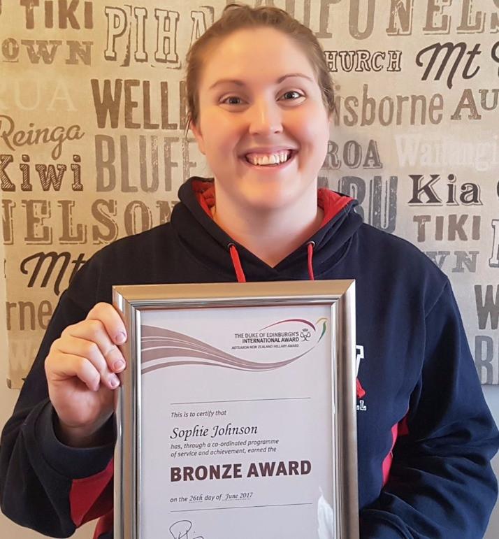 Huge congrats to 'Hall of Famer' Sophie Johnson, Westport recipient of the Bronze Duke of Edinburgh's Award.