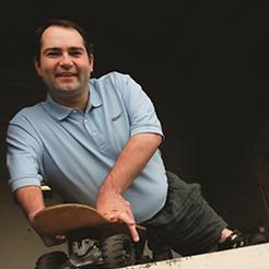 Vail Horton (Co-Founder) on a skateboard
