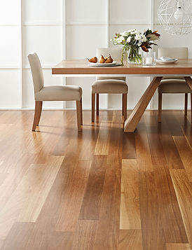 TimberMax TG Spotted Gum timber flooring installed in the dinning area