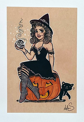 Pinup Witch Mini Print