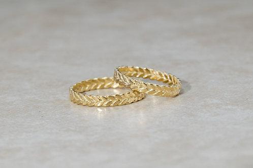 טבעת זהב 14K מעוטרת 4 חוטים מלופפים בעבודת יד