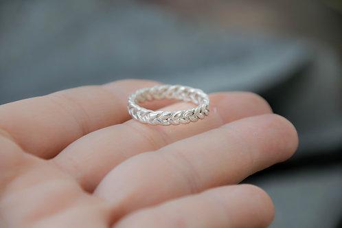 טבעת צמה כסף סטרלינג