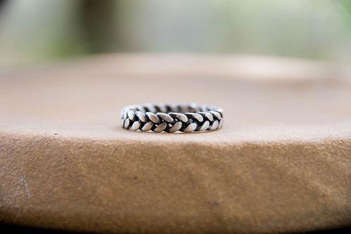 טבעת צמה כסף סטרלינג מושחרת