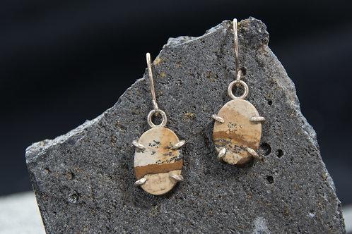 עגילים תלויים כסף סטרלינג משובצים אבן ג'ספר פיקצ'ר