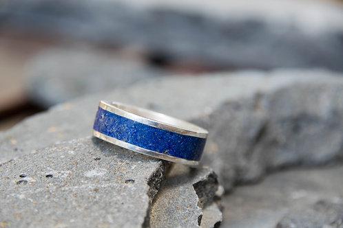טבעת כסף משולבת אבן לפיס לזולי