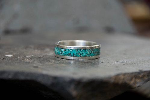 טבעת כסף משולבת אבן טורקיז