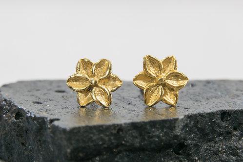 עגילים צמודים פרח קטן ועדין
