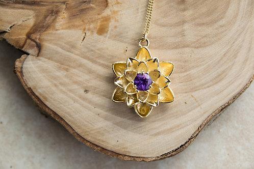 תליון ציפוי זהב פרח הלוטוס משובץ אבן המטיסט - Hamethyst