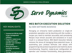 Servo Dynamics Phil - MES Batch Executio