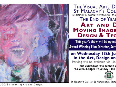 Visual Arts Department End of Year Show.  Wednesday 13 June, 6:30pm-8:00pm