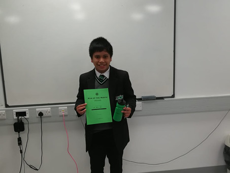 Year 8 - Man of the Month - September 2020