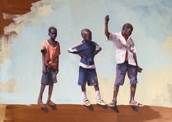 Boys on a wall