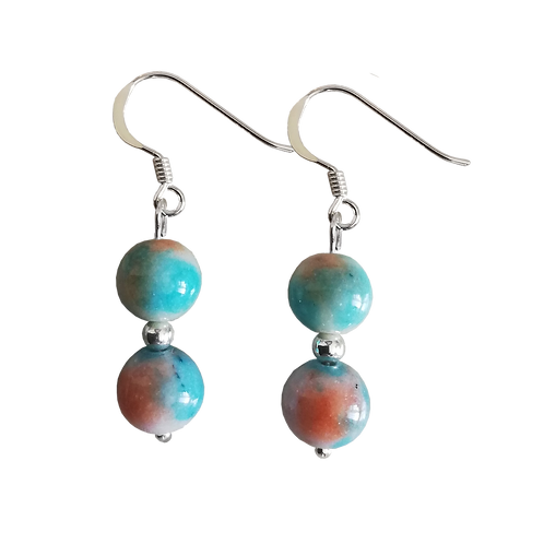 Blue/Orange Quartzite Double Drop Earrings