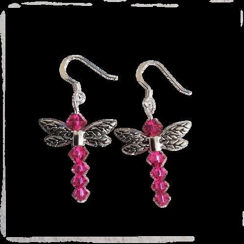 Dragonfly Earrings with Fuchsia Swarovski® Crystal Beads