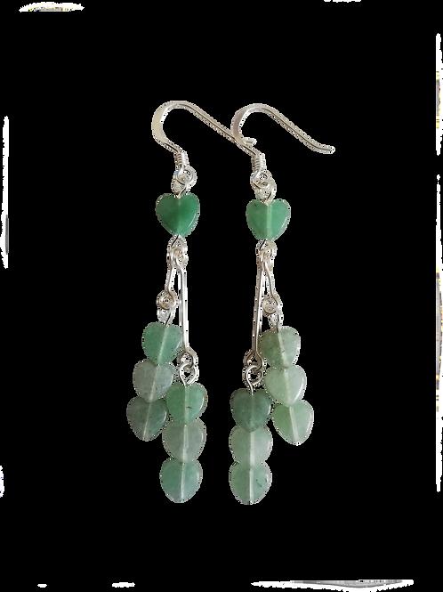 Green Aventurine Heart Long Drop Earrings