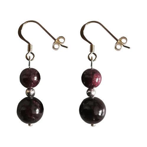 Dark Red Garnet Mixed Drop Earrings