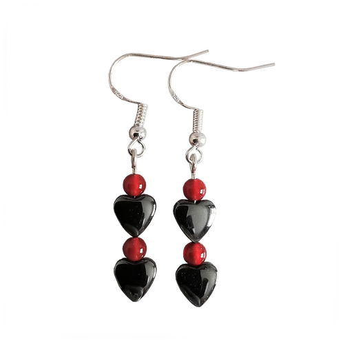 Hematite Heart & Red Carnelian Earrings