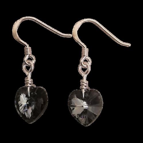 Short Drop Earrings with Crystal Silver Night Swarovski® Xilion Hearts