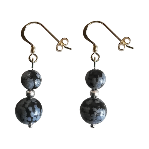 Black Snowflake Obsidian Mixed Drop Earrings