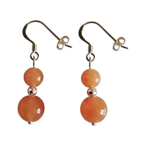 Orange Aventurine Mixed Drop Earrings