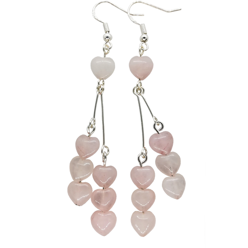 Rose Quartz Heart Long Drop Earrings