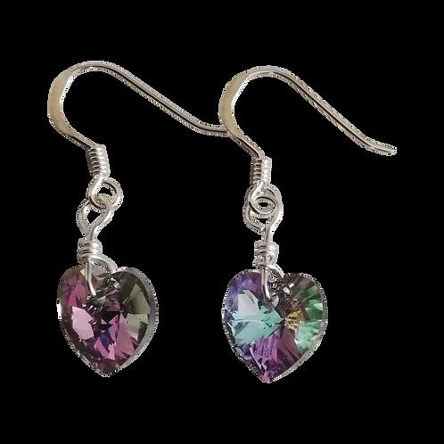 Short Drop Earrings with Crystal Vitrail Light Swarovski® Xilion Hearts