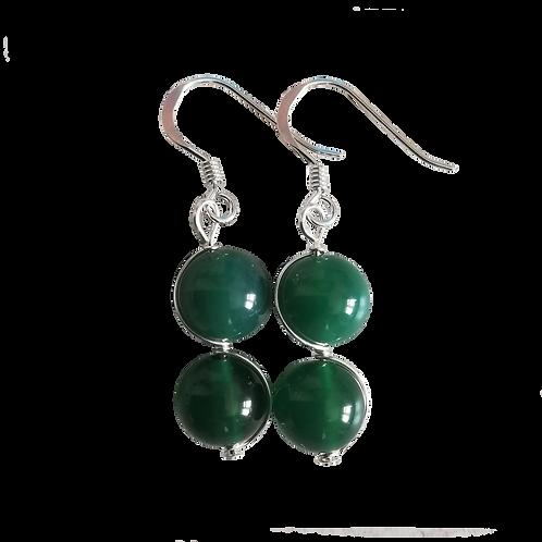 Green Onyx Wire Wrapped Double Drop Earrings