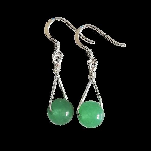 Green Aventurine Single Drop Earrings