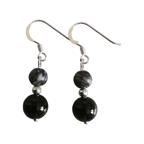 Onyx & Black Veined Jasper Mixed Drop Earrings