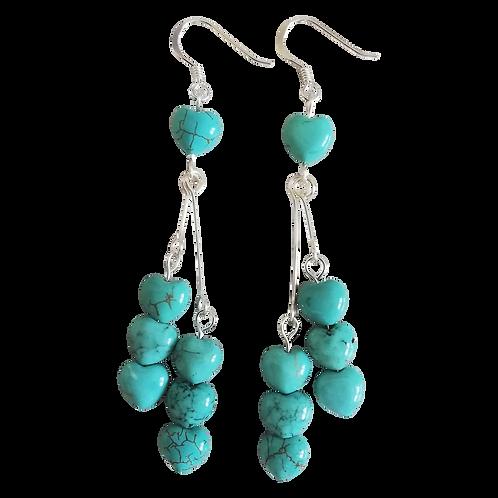 Turquoise Heart Long Drop Earrings