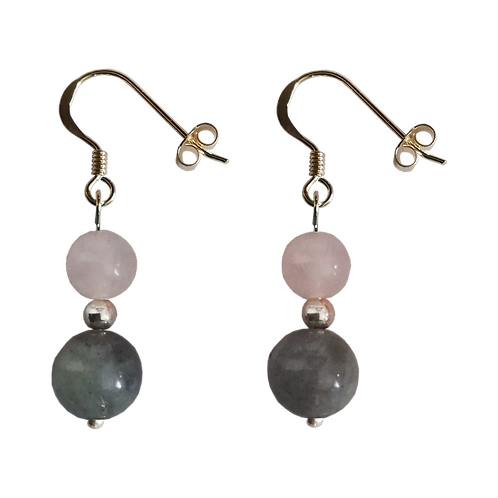 Labradorite & Rose Quartz Mixed Drop Earrings