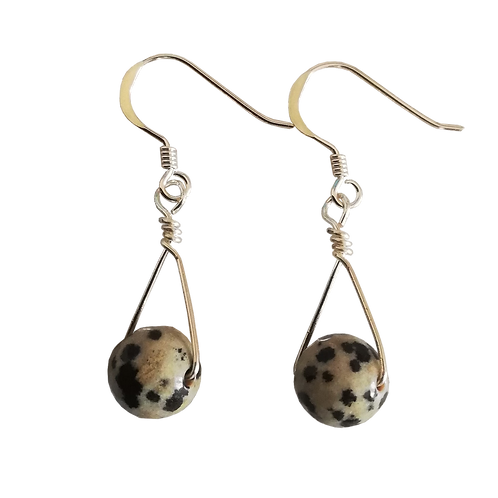 Dalmatian Jasper Single Drop Earrings