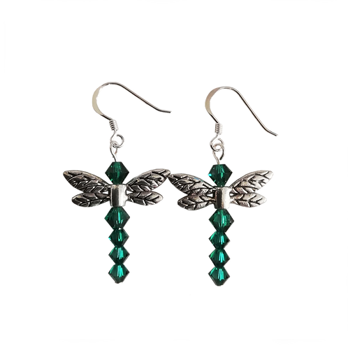 Dragonfly Earrings with Emerald Swarovski® Crystal Beads