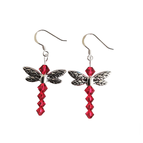 Dragonfly Earrings with Scarlet Swarovski® Crystal Beads