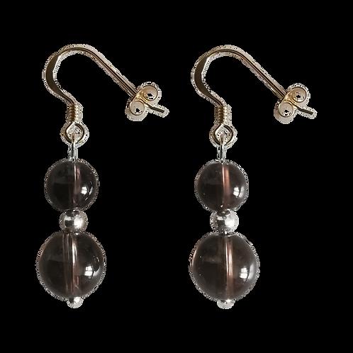 Smoky Brown Quartz Mixed Drop Earrings
