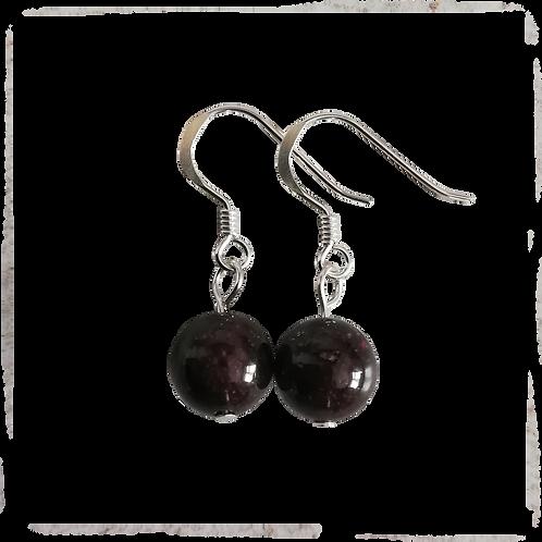 Dark Red Garnet Short Drop Earrings